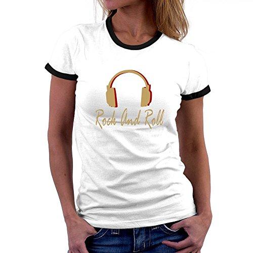 Teeburon Rock And Roll Headphones Ringer Damen T-Shirt (Musik T-shirt Damen Ringer)