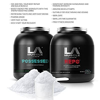 LA Muscle Pre & Post Workout Amazon Special; Contains Pharma Grade BCAAs; THE most powerful pre-workout supplements, Pharma Grade, safe & natural gym formula for explosive workouts and no come-downs after, delicious tasting flavour, instant mixing, see it