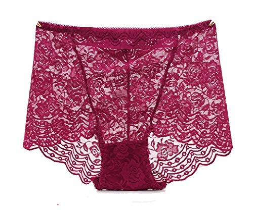 Boy Cut Lace Panty (CuteRose Women's Stretch Daily Sheer Breathable Sexy Lace Hipster Panties Wine Red L)
