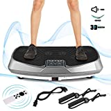 Oliote Vibrationsplatte 3D Vibrationstrainer Oszillierend Vibrationsgeräte Fitness mit Dual-Motoren, Curved Design, Color Touch Display, inkl. Trainingsbänder, Fernbedienung grau