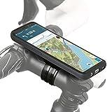 QuickMOUNT 3.0 Fahrrad Halterung für Samsung Galaxy S8 (SM-G950F) Bike Kit mit Case und Regenhülle (Handyhalterung, Ladekabel- und Kopfhörer Anschluss) schwarz / matt