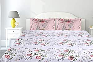 haus & kinder Victorian Summer Dream, 100% Cotton Double Bedsheet with 2 Pillow Covers, 186 TC (White Pink: Pink)
