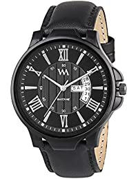 WM Day Date Collection Black Dial Black Leather Strap Watch For Men And Boys DDWM-036