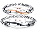 "Très Chic Mailanda 2 Edelstahl Partner Armband Armreif Gravur ""I Was Born To Love You"" Schmuck Set Armkette (One Size, CB-010)"