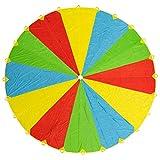 Paracaídas de Color Grande Arcoiris de 20 pies - Con 24 asas - Diversión y entretenimiento para niños y bebés pequeños - Popular en Manta de picnic al aire libre, juego de fiesta, actividad grupo.