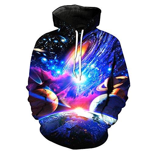 Bluepistil Herren 3D Druck Sweatshirts Weihnachten Pullover mit Aufdruck Herbst Hemd Kapuzenpullover Langarm (EU XXL / Asia 4XL, Blau)