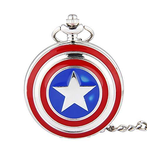 Baoleiju Halskette Medaillon Anhänger Captain America mit Schmuckkästchen Capitan Amerika für Mädchen, Mädchen (Silber) (Captain America Medaillon Halskette)