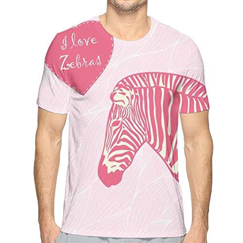 3D Printed T Shirts,I Love Zebras In Heart Romantic Wilderness Nature Savannah Fashion L