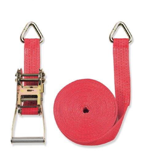 Braun Spanngurt 5000 daN, zweiteilig, Farbe rot, 8 m Länge, 50 mm Bandbreite, mit Ratsche und Triangel