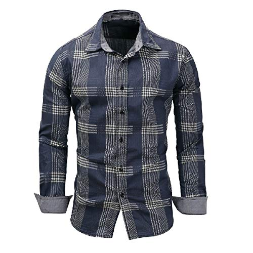 CuteRose Mens Oversized Classic Plaid Cowboy Long-Sleeve No-Iron Longshirt Denim Blue XL - Woven Long Sleeve Button