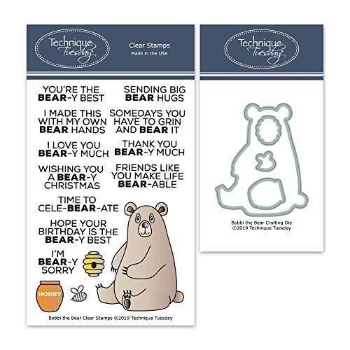 Bobbi The Bear Clear Stamps & Schablonen-Set, Photopolymer-Stempel, transparente Gummistempel, Tier-Gummisstempel, passende Metallschablonen, Stanzformen, Stanzformen -