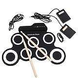LanLan Tambor electrónico portátil Digital USB 7 Pads Roll, Kit de batería eléctrico de Silicona con Drumsticks Foot Pedal Instrumento Musical de Entrenamiento, Regalo Ideal de Navidad