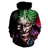WDDGPZWY 3D Hoodie Kapuzenpullover Langarm Sweatshirt Kapuzenjacke Drucken Hoodie Pullover 3D Muster Clown Mantel Joker Set Drucken Hoodie Pullover A, M