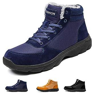 Sunny Holiday Bottes Homme Neige Hiver Antidérapant Chaussures de Chaudes Fourrees Mode Bottine Homme Trekking Outdoor Boots de Confort Alpinisme de Randonnéé,Bleu,46 EU