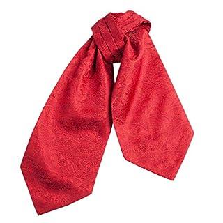 CRT024-Mens Silk Feel Elegant Cravat Classic Ascot Tie in Red Paisley Print