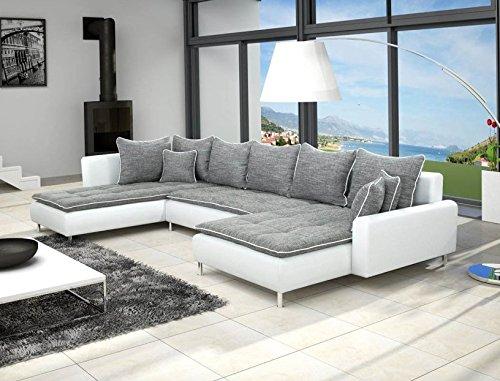 Canap-dangle-en-U-DANTE-6-places-gris-et-blanc