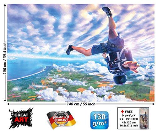 Poster Fallschirmspringen Abenteuer Wandbild Dekoration Skydiving Adventure Extremsport Sky-Dive Adrenaline Freier Fall | Wandposter Fotoposter Wanddeko Bild Wandgestaltung by GREAT ART (140 x 100 cm)