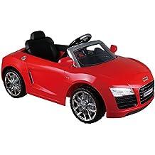 12V, 1200mA Audi R8 Coche Eléctrico para niños auto Juguete Spyder licencia Blanco/Rojo (Rojo)