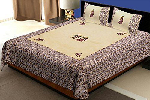 Kuber Industries Embroidery Design 144 TC Cotton Double Bedsheet with 2 Pillow Covers - King Size, Cream