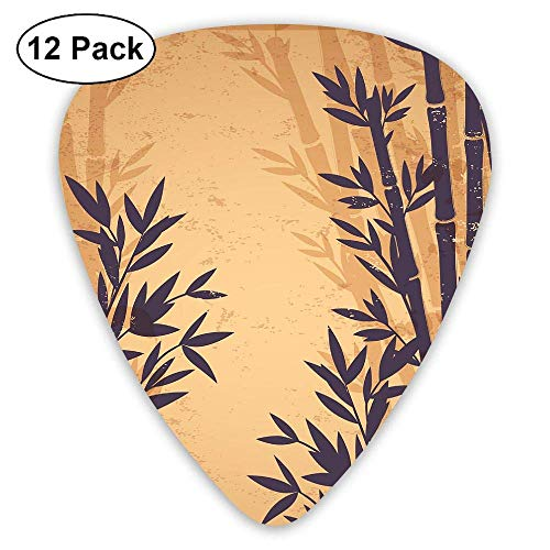 Isolated Bamboo Guitar Picks (12 Pack) Unique Designs Guitar Picks Bamboo Paddle-pick