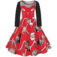 MEIbax Vestidos Mujer Navidad Tallas Grandes Vintage Encaje de Moda Empalme de Gato Estampado Navideña Cuello.