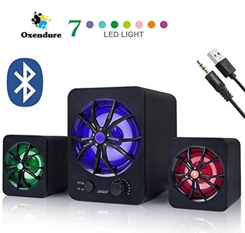Lautsprecher mit Bluetooth und 3.5MM Aux für laptop, Computer, Handy, TV USB Stromversorgung, LED Beleuchtung