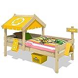 WICKEY Lit enfant CrAzY Buddy Lit jeu 90x200 Lits aventures avec toit et sommiers à lattes, jaune