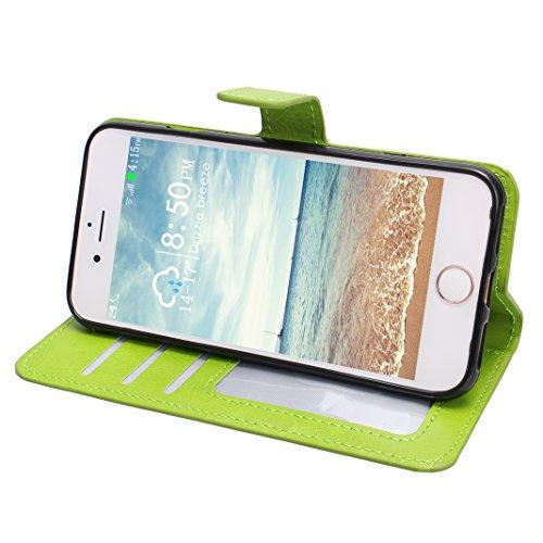 iPhone 7 Plus Blau Tasche Leder, iPhone 7 Plus Bumper Case, Hülle iPhone 7 Plus Leder, Moon mood® Ledertasche Brieftasche für Apple iPhone 7 Plus (5.5 Zoll),PU Leder Hülle Wallet Case Folio Schutzhüll Grün