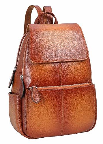 HESHE Damen leder rucksack beiläufige daypack damen fashion bag Sorrel 10.63'(L) x 5.12 '(W) x 14.57'(H)