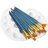 LiSmile 12 Künstlerpinsel , 2 Mischpalette, Premium Nylon Pinsel für Aquarell, Acryl & Ölgemälde usw. Perfektes Pinsel Set für Anfänger, Kinder, Künstler und Gemälde Liebhaber