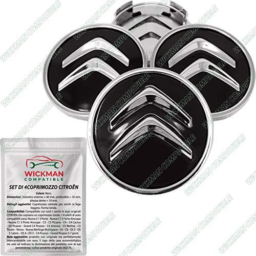 Set di 4 Tappi Coprimozzo compatibili Citroen per Cerchi in Lega - Nero, Tondo, Cromato, 60 mm Diametro - da Wickman Compatible - Gestito e Spedito dall'It