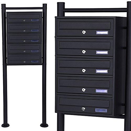 Melko Mehrfachbriefkasten Standbriefkasten aus verzinktem Stahl, Schwarz, 5 Fächer