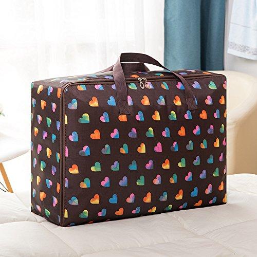 4 stücke Gepäck Organizer wasserdichte Kleidung Aufbewahrungsbeutel mit Wäsche/Kulturbeutel für Reise oder Haushalt (Bunte Muster) Kaffee-Herz 58x22x38cm