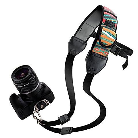 Sangle Epaule Dégagement Rapide en Néoprène pour Appareil Photo Numérique Réflex et Bridge - Canon EOS 1300D , 700D / Nikon D5600 , Coolpix / Panasonic Lumix DMC-FZ300 , Pentax - par USA