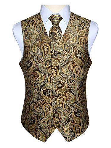 Hisdern Paisley floreale Jacquard floreale gilet e cravatta e fazzoletto da taschino set
