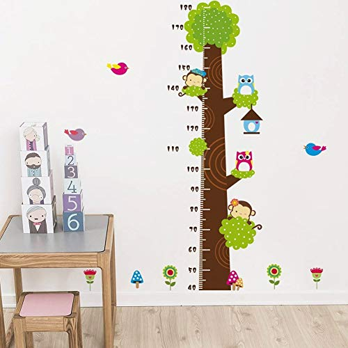 Metro adesivo da parete per registrare l'altezza, a forma di albero con gufi e scimmie, removibile, per misurare la crescita del bambino, decorazione per stanza dei bimbi Owl - 5