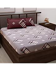 Story@Home Candy Gold Collection 120 TC Cotton Printed Pattern 1 Double Bedsheet and 2 Pillow Cover - Geometrical, Brown