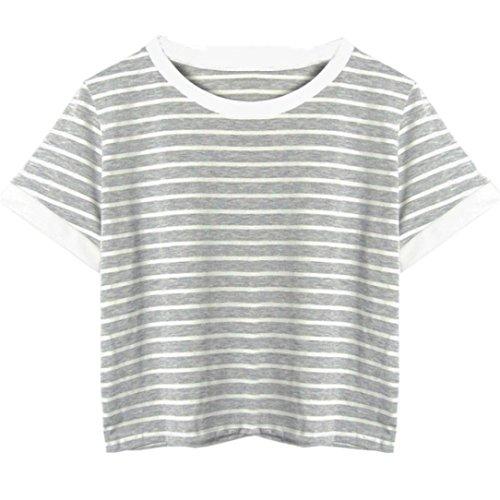 TUDUZ Damen Gestreift Crop Top Kurzarm Streifen Shirt Oberteile (S, Grau -D) Stretch Denim Crop Hose