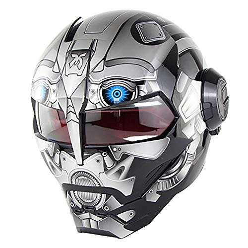XYL Casco Moto Integrale omologato ECE Motocross Casco Moto Casco Flip Open Mask Iron Man Scooter Ghost Claw Casco Moto,Gray,L