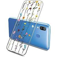 Suhctup Transparente Funda Compatible con Samsung Galaxy A60,Cárcasa Silicona Ultra Fina Flor Diseño Anti-Arañazos Antigolpes Bumper TPU Resistente Case Cover para Samsung Galaxy A60(2)
