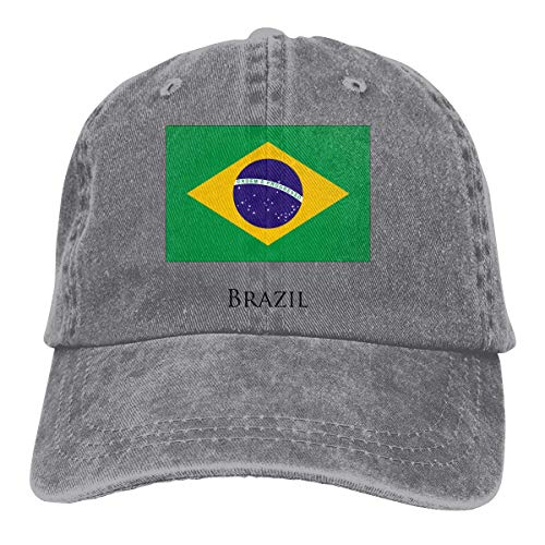 Mbefore Unisex Erwachsene Vintage Washed Baseball Cap Verstellbarer Papa Hut - Brasilien Flagge schwarz -