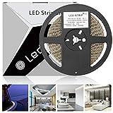 LEDMO Striscia LED bianco freddo 6000K SMD2835-600led IP65 Impermeabile strisce led 5 metri DC12V 6000lm di altezza CRI80 led strip per decorazione di armadio da cucina,illuminazione domestica, cucina, interni soggiorno,tv (Adattatore non incluso)