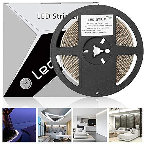 LEDMO led streifen 5M,12V led band 600 leds kaltes weiß IP65 wasserdicht led stripes SMD2835 15LM/LED hohe helligkeit led lichtband CRI80 Wohnkultur, Außenbeleuchtung