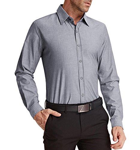 Herren Stilvoll Casual Business Langarm Hemd Slim Fit Freizeit Shirt Grau S JS01-2