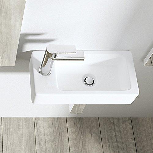 BTH: 36x18x9,5 cm Design Hängewaschbecken Brüssel3053R aus Keramik inkl. NANO-Versiegelung, eckige Form, Waschschale, Waschtisch