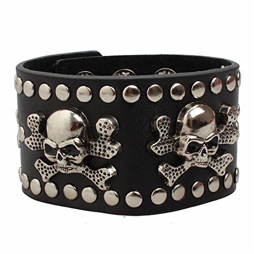 Ultra cráneos y huesos cruzados de cuero gótico Steampunk estilo pulsera brazaletes pulsera gótica gótico gótico emo Cyber vintage estilo moteros Rock adultos adolescentes