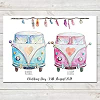 Personalised Campervans with Tribal Feathers, Couples Print, Wedding/Anniversary/Valentines Gift, Home Decor A4 or A3