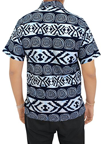 LA LEELA Shirt Camicia Hawaiana Uomo XS - 5XL Manica Corta Hawaii Tasca-Frontale Stampa Hawaiano Casuale Regular Fit Blu NavyUT_2766 denim blu