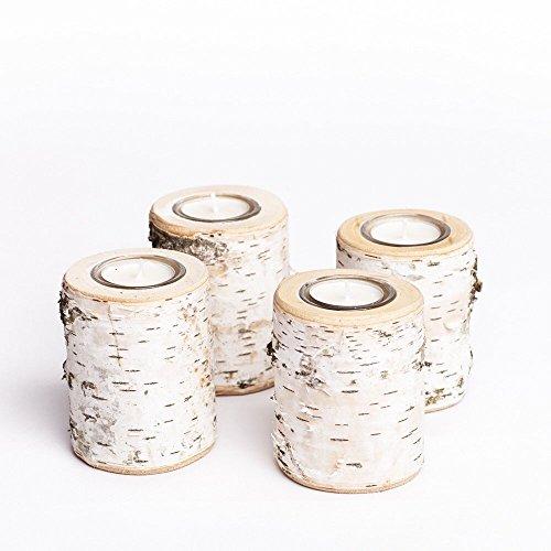 Teelichthalter aus Birkenholz im 4er Set | Adventskranz Kerzenhalter