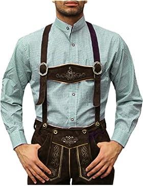 Trachtenhemd mit Stehkragen für Trachtenlederhosen Grün/kariert